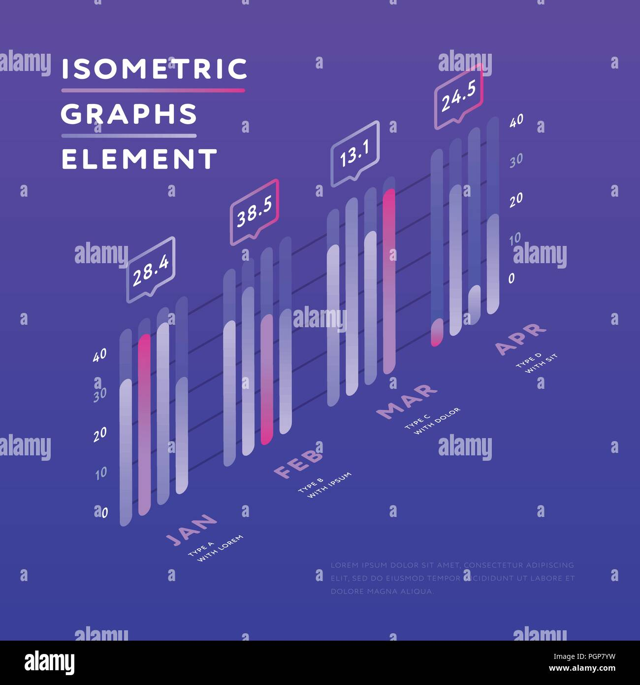 Isometric elements of graphic presentation  - Stock Image