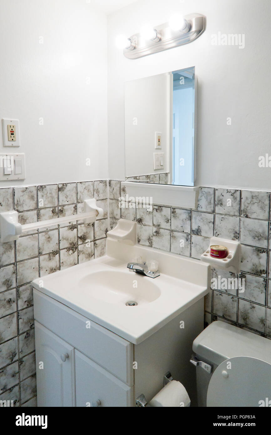 Small bathroom vanity (bathroom sink) - USA Stock Photo: 216848222 ...