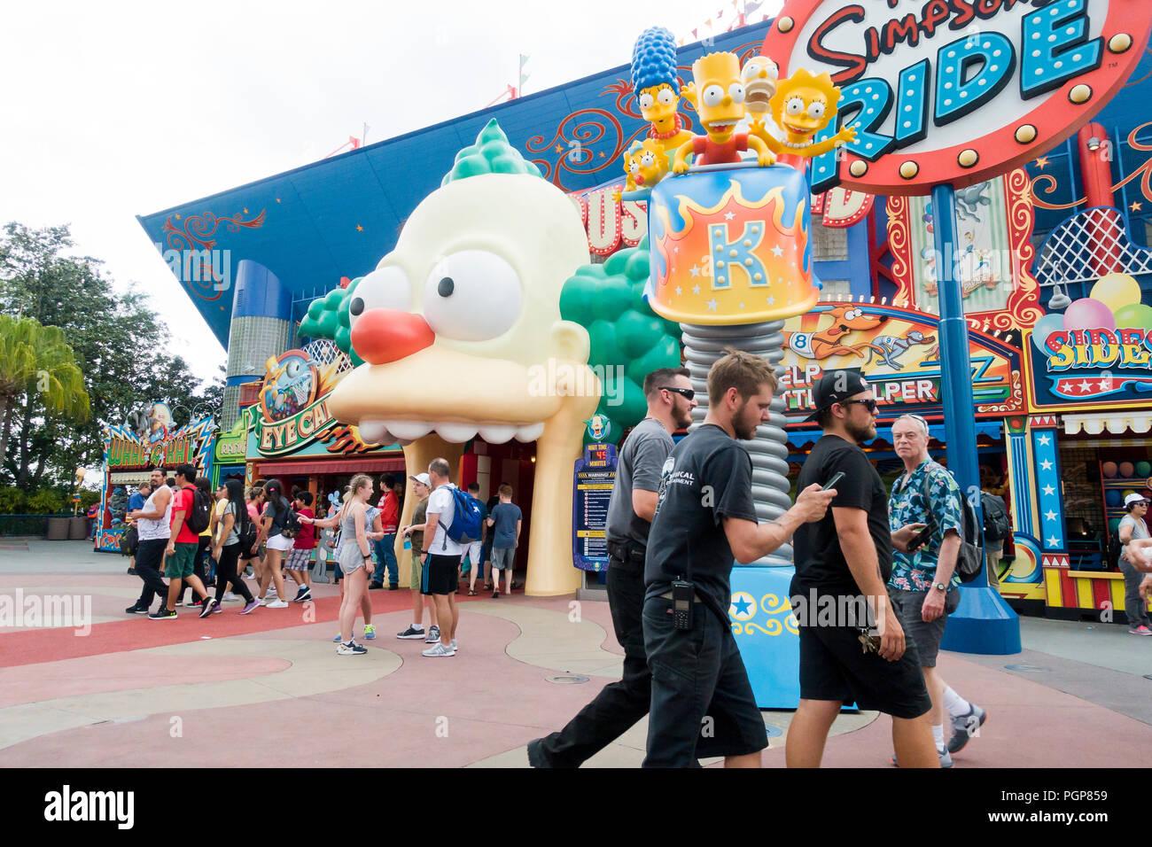 The Simpsons Ride at Springfield USA, Universal Studios Florida - Orlando, Florida USA - Stock Image