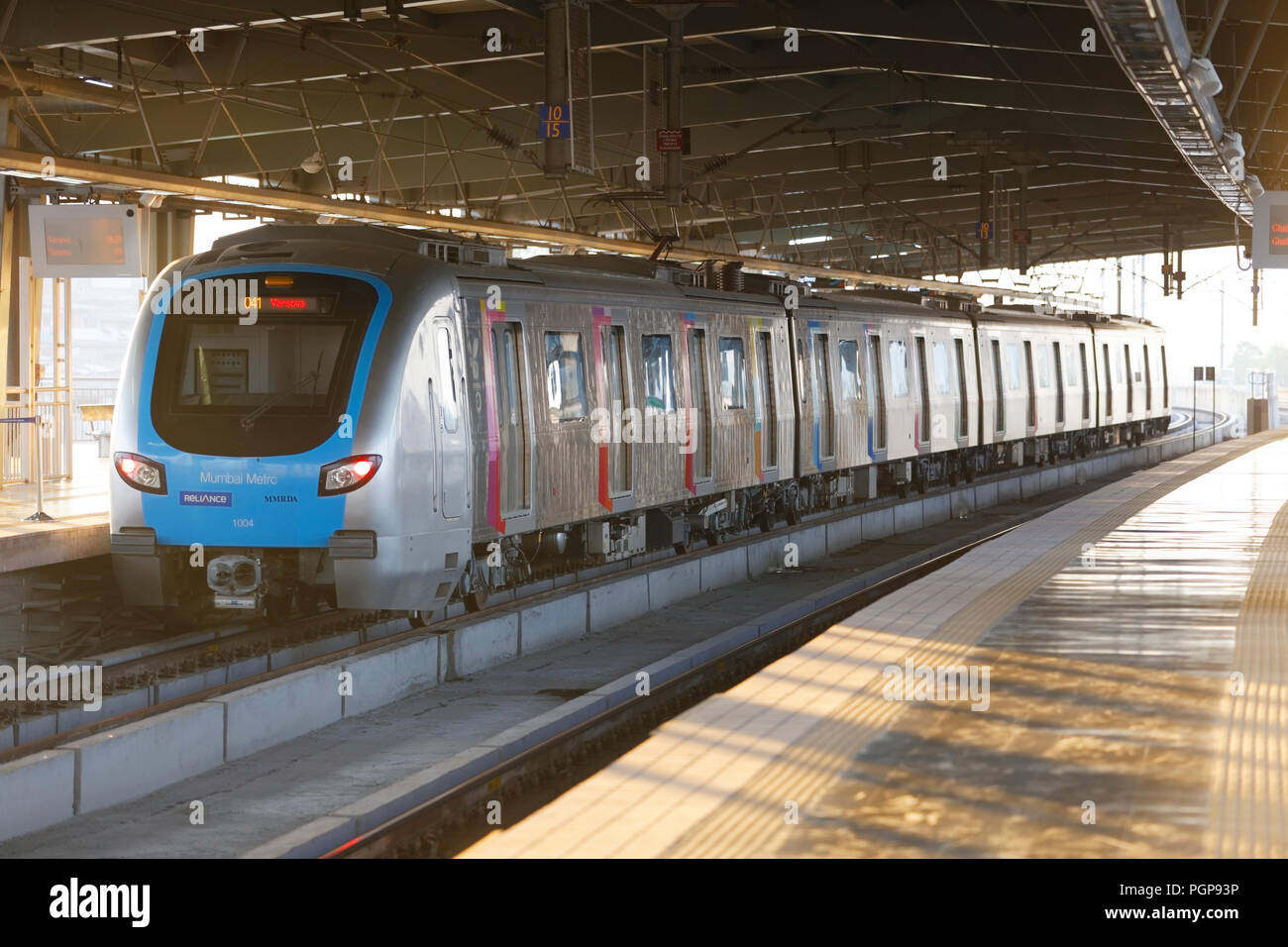 Mumbai Metro train interior and exterior. Comfortable, modern , fast, new & air conditioned way of transport in Mumbai India, Stock Photo