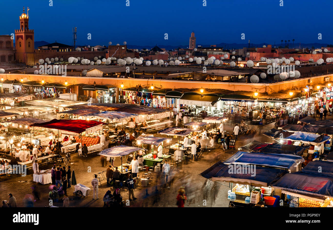 MOROCCO-DEC 24, 2012: Aerial view of the night market in the main public square in Marrakech. In the evening the square fills with food stands Stock Photo