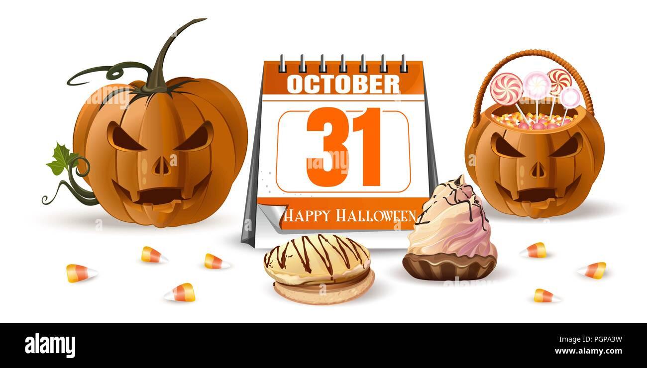 halloween design with calendar jack o lantern and sweets october 31 holiday date in calendar vector illustration