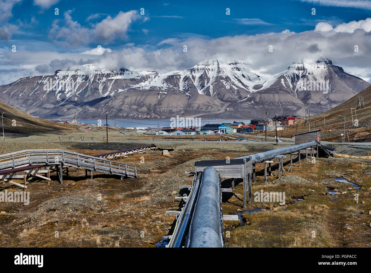 supply pipe, Longyearbyen and landscape, Svalbard or Spitsbergen, Europe - Stock Image