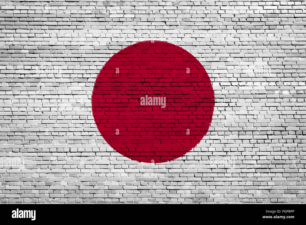 National flag of Japan on a brick background Stock Photo