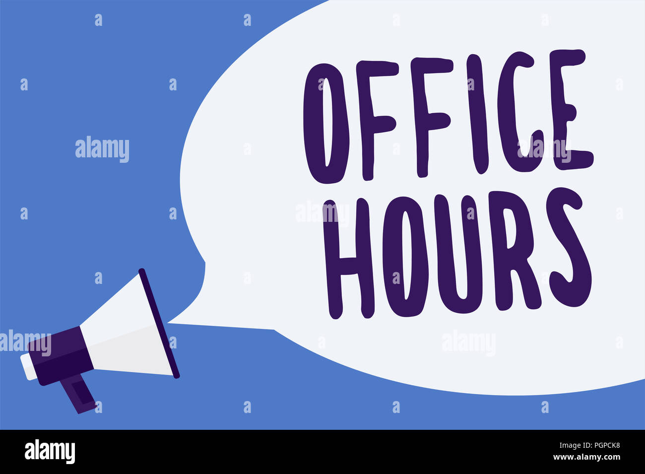 Writing note showing Office Hours. Business photo showcasing The hours which business is normally conducted Working time Megaphone loudspeaker speech  - Stock Image