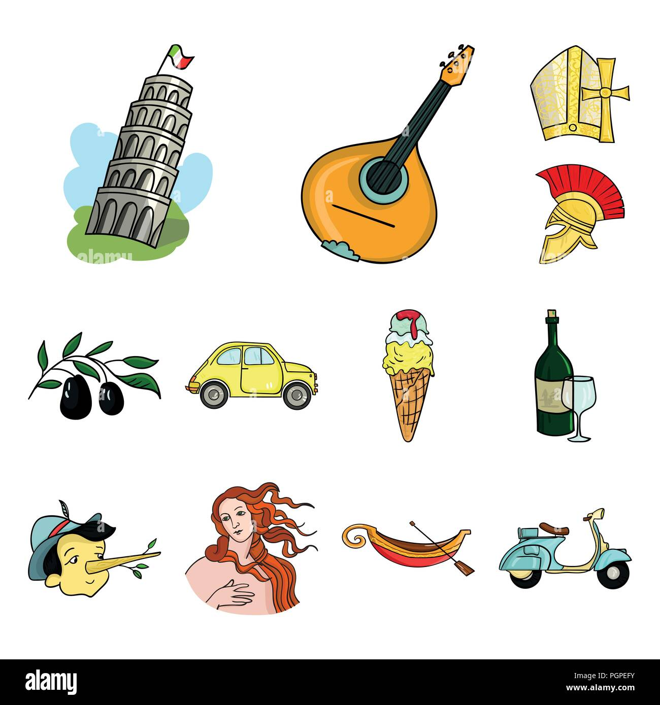 Country Italy Cartoon Icons In Set Collection For Design Italy And