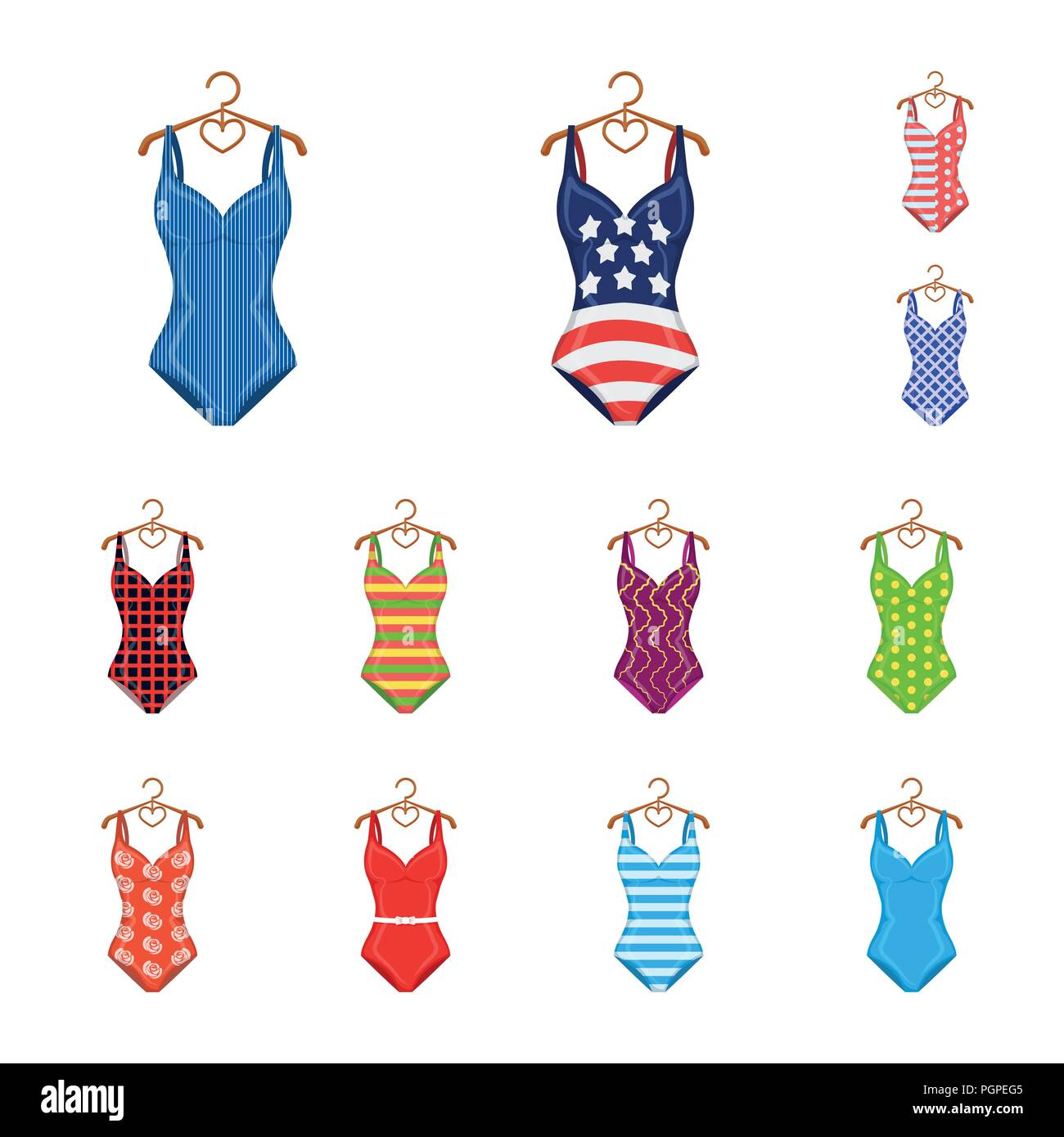 2fb53d4d94 Different types of swimsuits cartoon icons in set collection for design.  Swimming accessories vector symbol