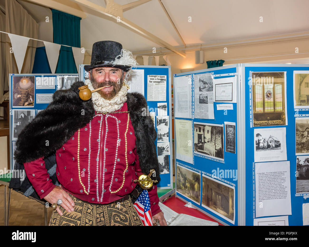 East Budleigh, England.27th August,2018. The Village 'Celebrates the Life of Sir Walter Raleigh' with a street Party. Credit: Peter Bowler/Alamy Live News. - Stock Image
