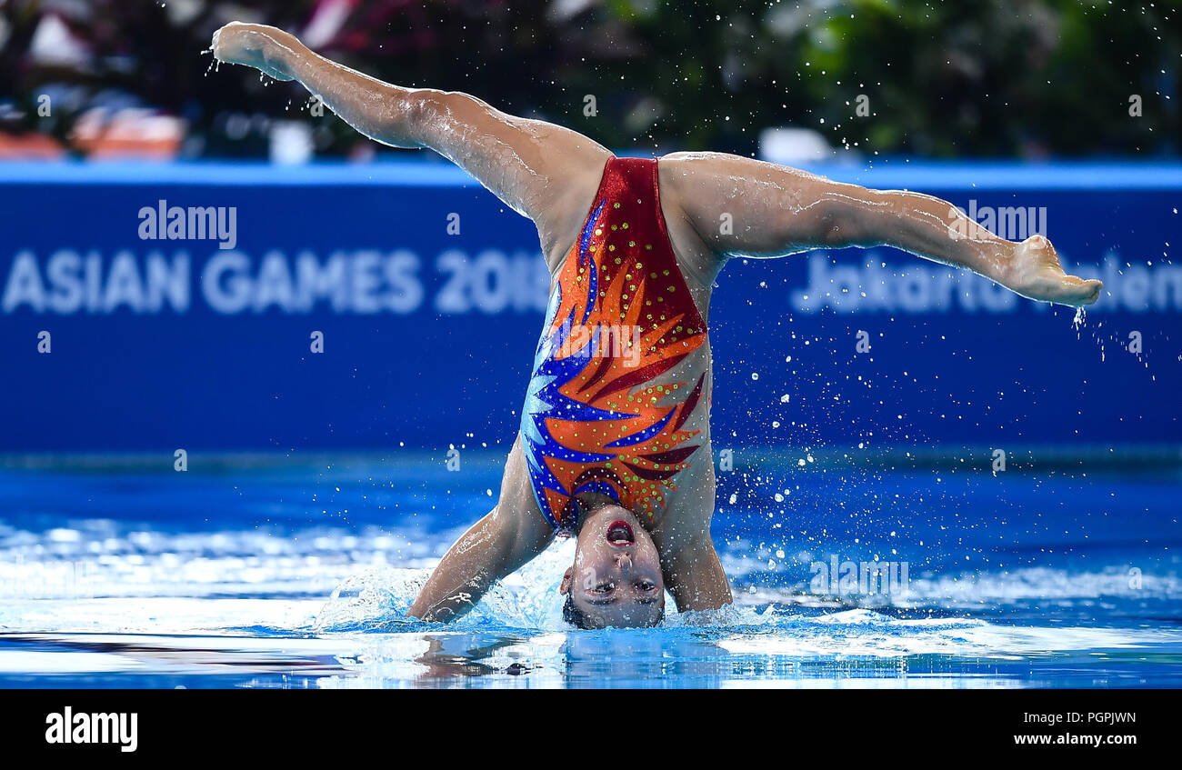 Jakarta, Indonesia. 28th Aug, 2018. An athlete of South Korea competes during the Artistic Swimming Women's Duets contest at the 18th Asian Games in Jakarta, Indonesia, Aug. 28, 2018. Credit: Li Xiang/Xinhua/Alamy Live News - Stock Image