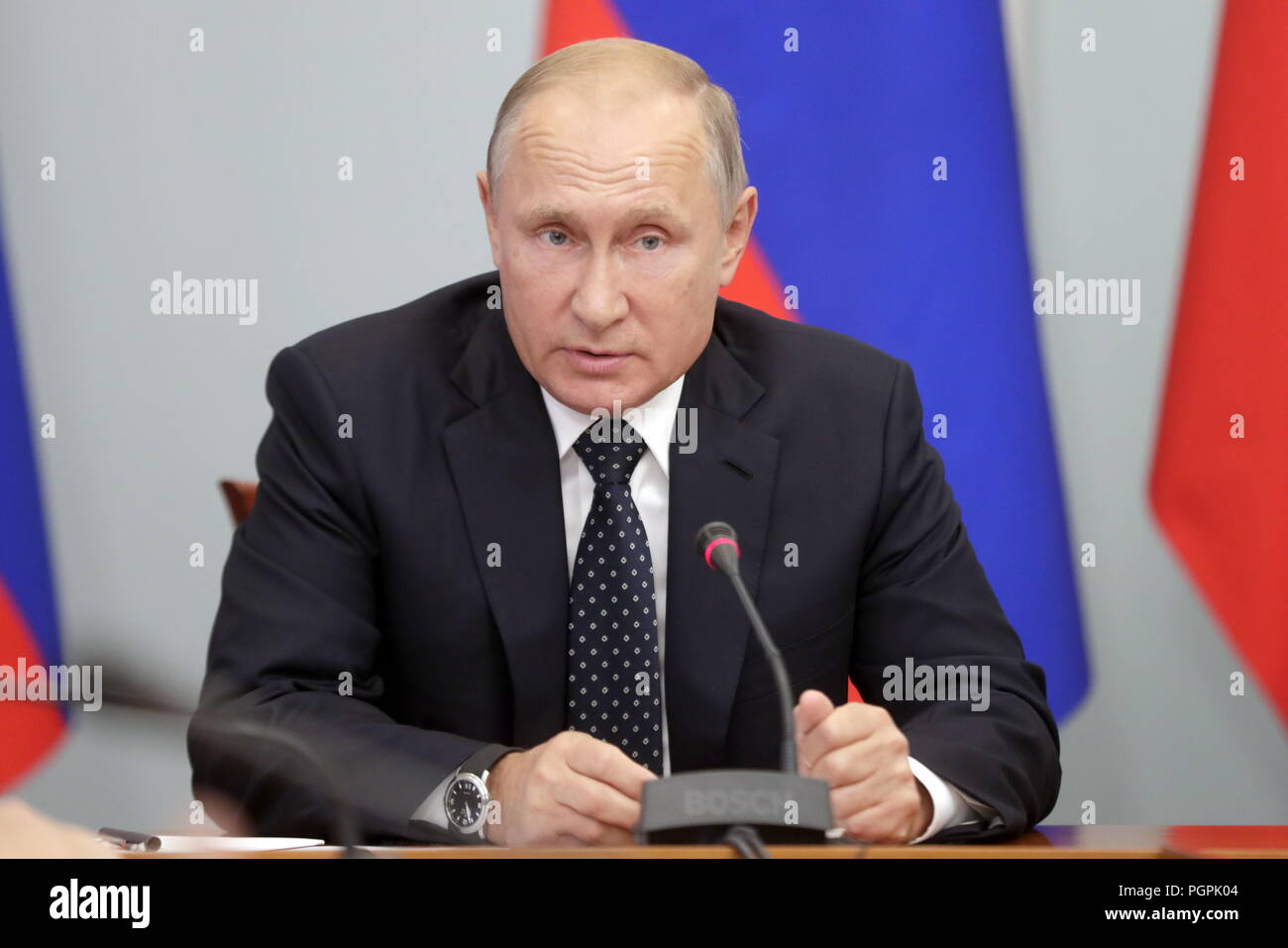 Omsk, Russia. 28th Aug, 2018. RUSSIA - AUGUST 28, 2018: Russia's President Vladimir Putin chairs a meeting on social and economic issues. Mikhail Metzel/TASS Credit: ITAR-TASS News Agency/Alamy Live News - Stock Image