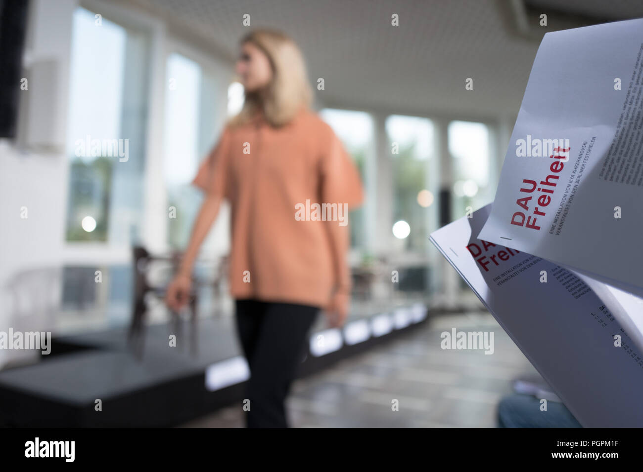 Germany Berlin 28th Aug 2018 A Journalist Reads The Press Release At