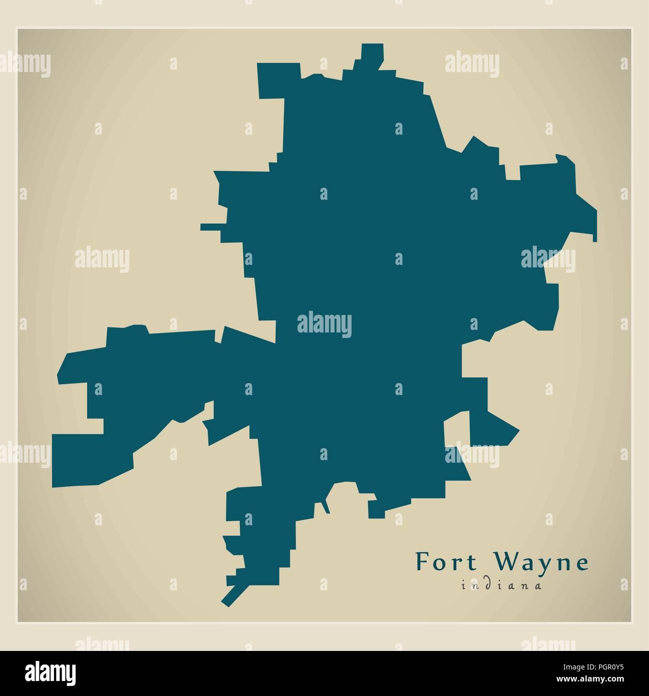 Modern City Map - Fort Wayne Indiana city of the USA ...