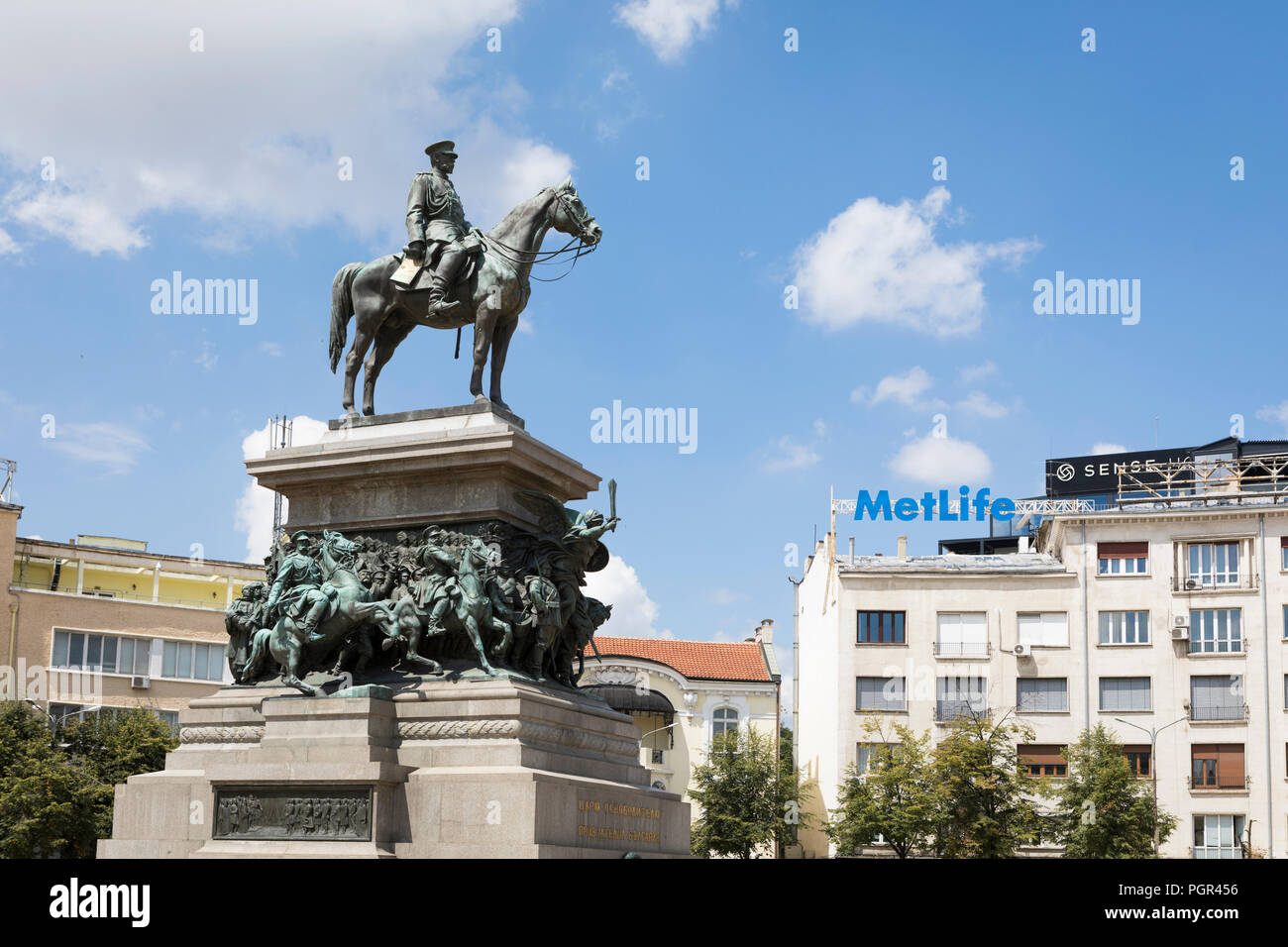 Statue of tsar Alexander II who liberated the country of the Turkish Ottoman Empire enslavement in1878, Sofia, Bulgaria - Stock Image