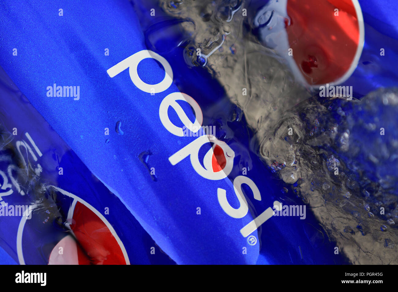 Pepsi Can Blue Background Stock Photos & Pepsi Can Blue