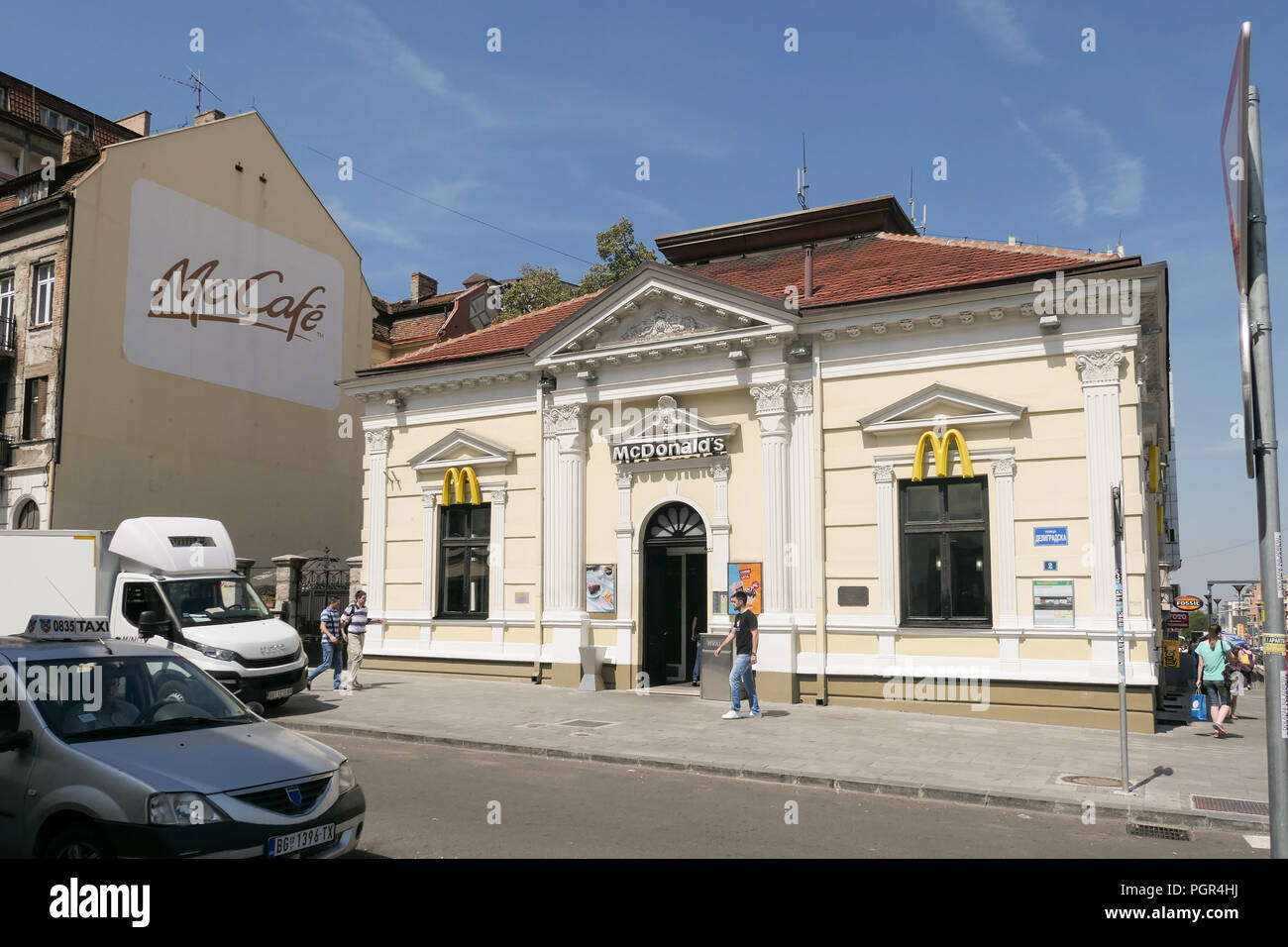 McDonalds Slavjia Square, Belgrade, Serbia - the first McDonald's to open in a communist country in 1988 when part of Yugoslavia - Stock Image
