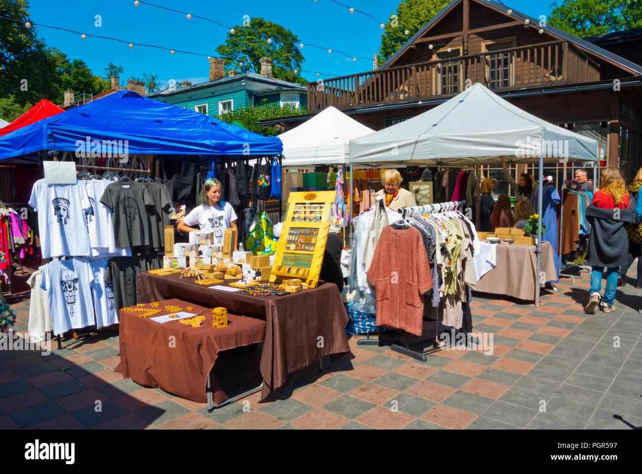 Saturday market, Kalnciema kvartals, Riga, Latvia - Stock Image