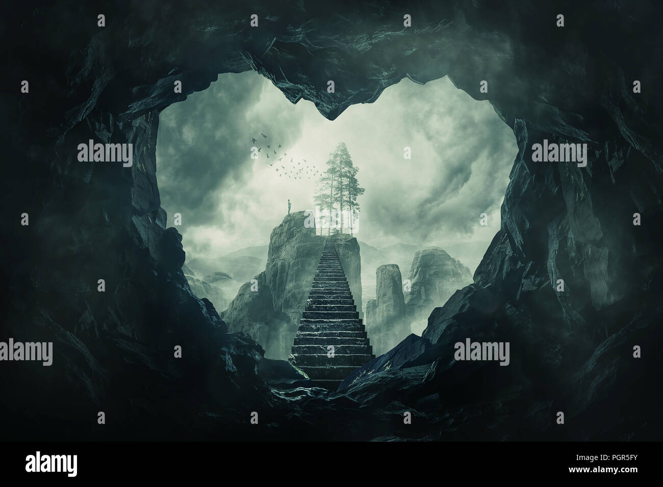 Surreal view heart shaped dark cave exit and mystic stairway crossing the misty abyss going up to unknown paradise. Opportunity staircase to love, way - Stock Image