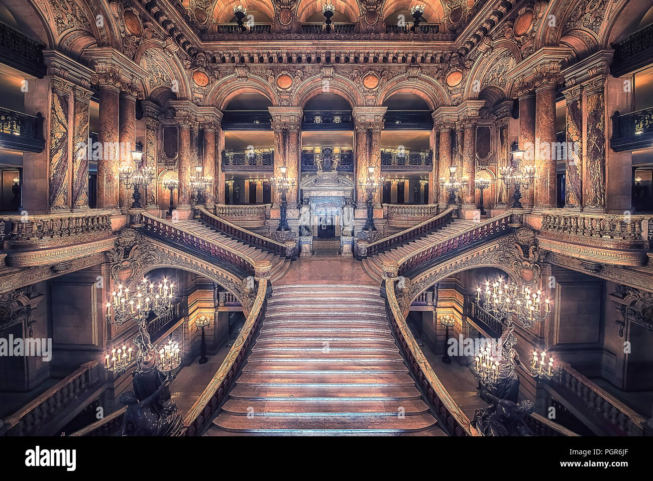 September 2016 Paris France Stairway Of The Opera House In