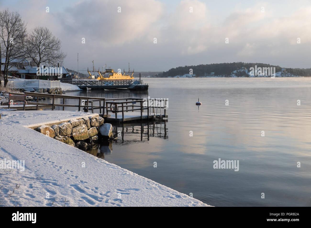 skerry landscape sweden during wintertime Stock Photo