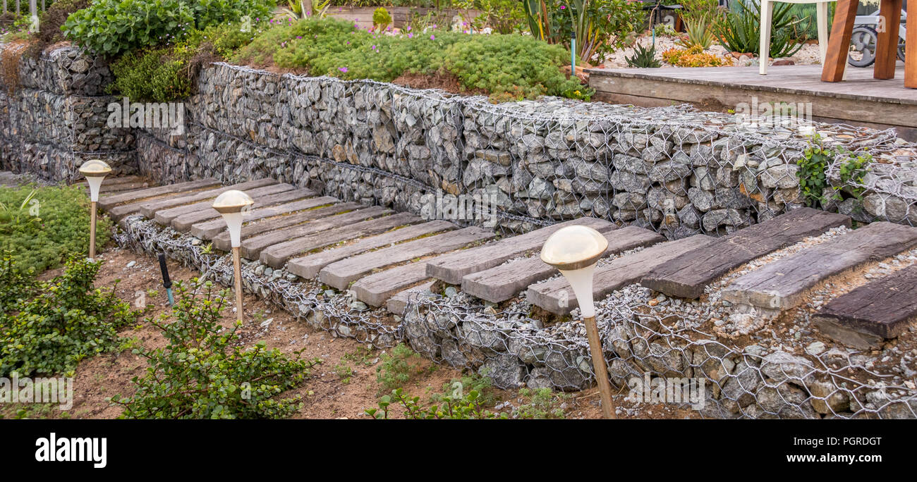 Gabion is a wire cage filled with rocks for use in civil engineering, road building and landscaping applications image in landscape format - Stock Image