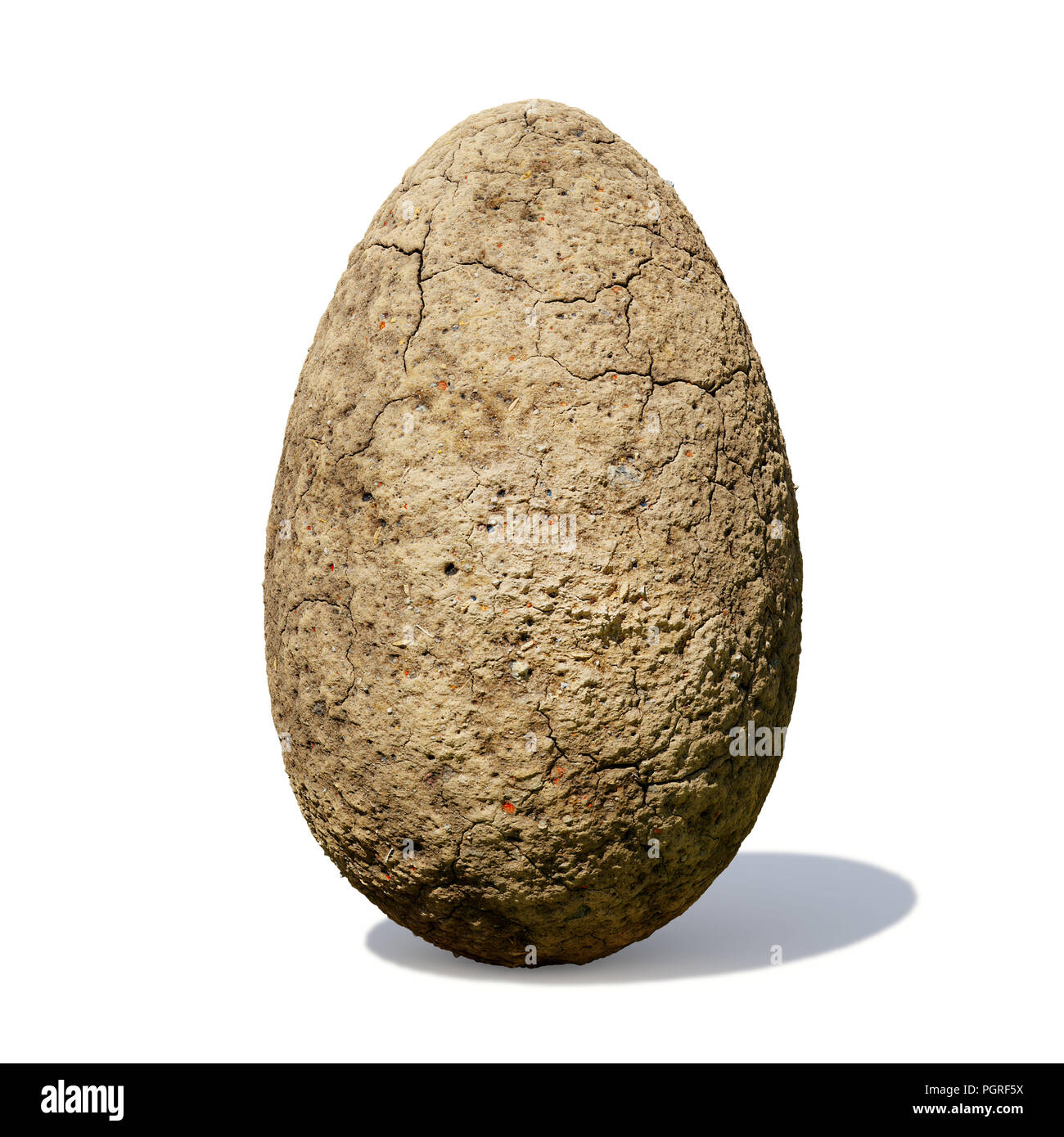 dinosaur egg, ancient stone egg with cracks isolated with shadow on white background - Stock Image