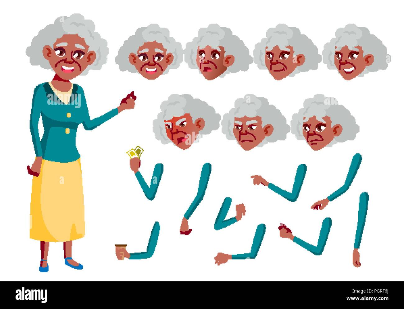 5210dad3b3c76 Senior Person. Aged, Elderly People. Fun, Cheerful. Face Emotions, Various  Gestures. Animation Creation Set. Isolated Flat Cartoon Character  Illustration