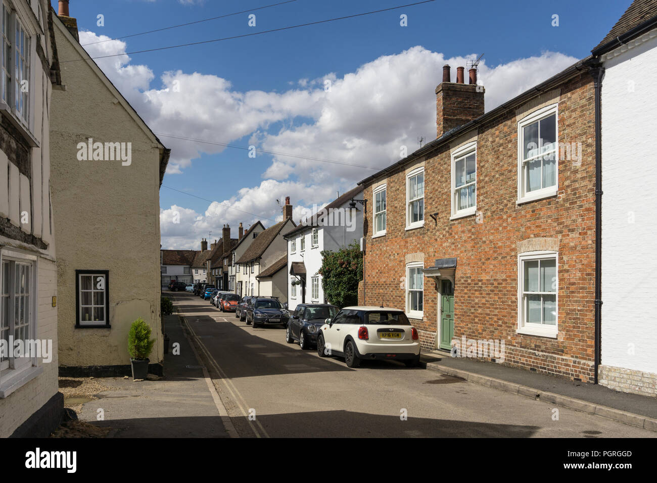 East Street, Kimbolton, Cambridgeshire, UK; a mix of older housing some dating back to Medieval times - Stock Image