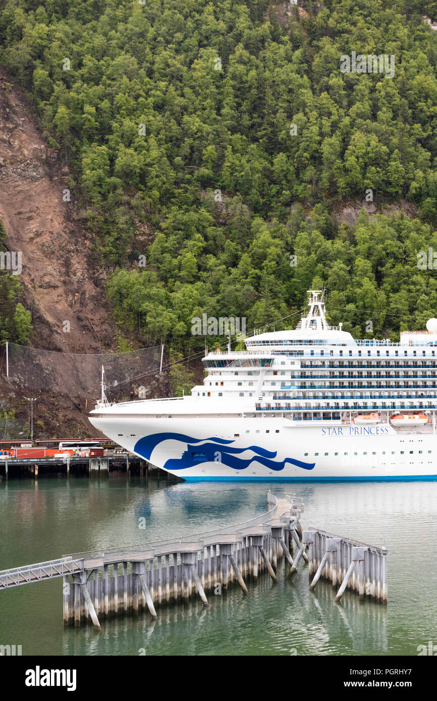 Princess Cruises 'Star Princess' in harbour at Skagway, Alaska, USA - Stock Image