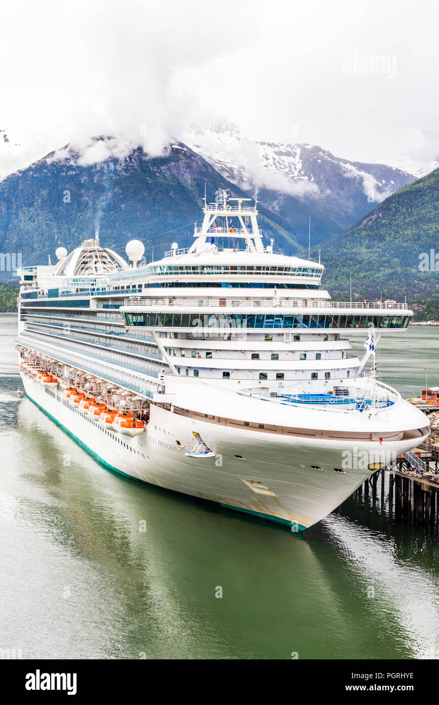 Princess Cruises 'Ruby Princess' in harbour at Skagway, Alaska, USA - Stock Image