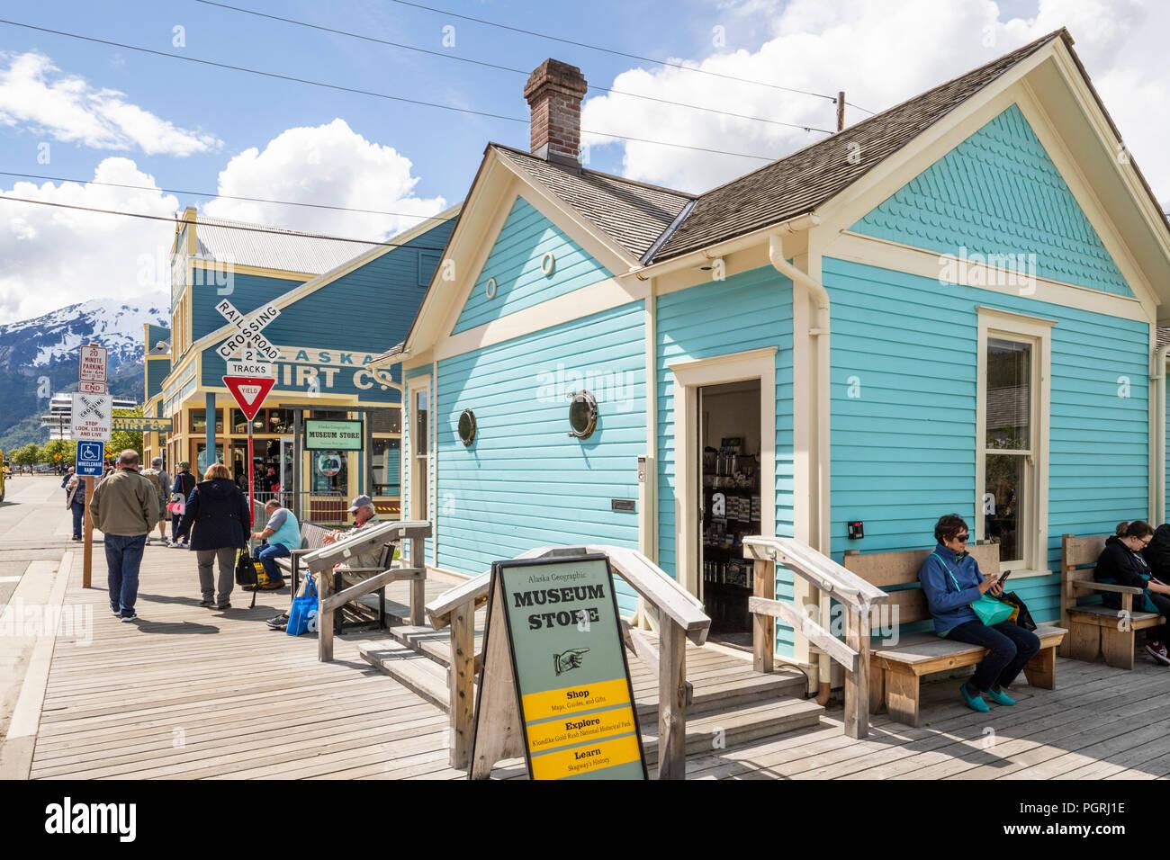 Alaska Geographic Museum Store (National Park Service) in Skagway, Alaska, USA - Stock Image