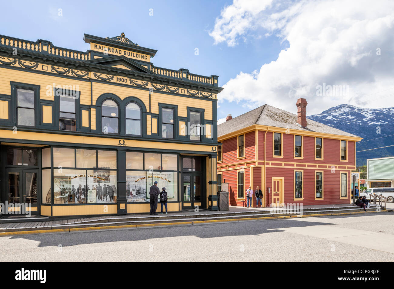 The Railroad Building of 1900 in the main street in Skagway, Alaska USA - Stock Image