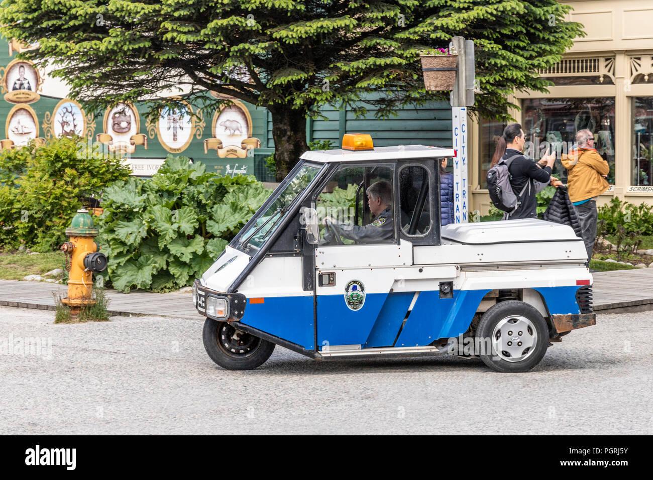 Unusual three wheeled police vehicle (ex NYPD?)  in Skagway, Alaska USA - Stock Image