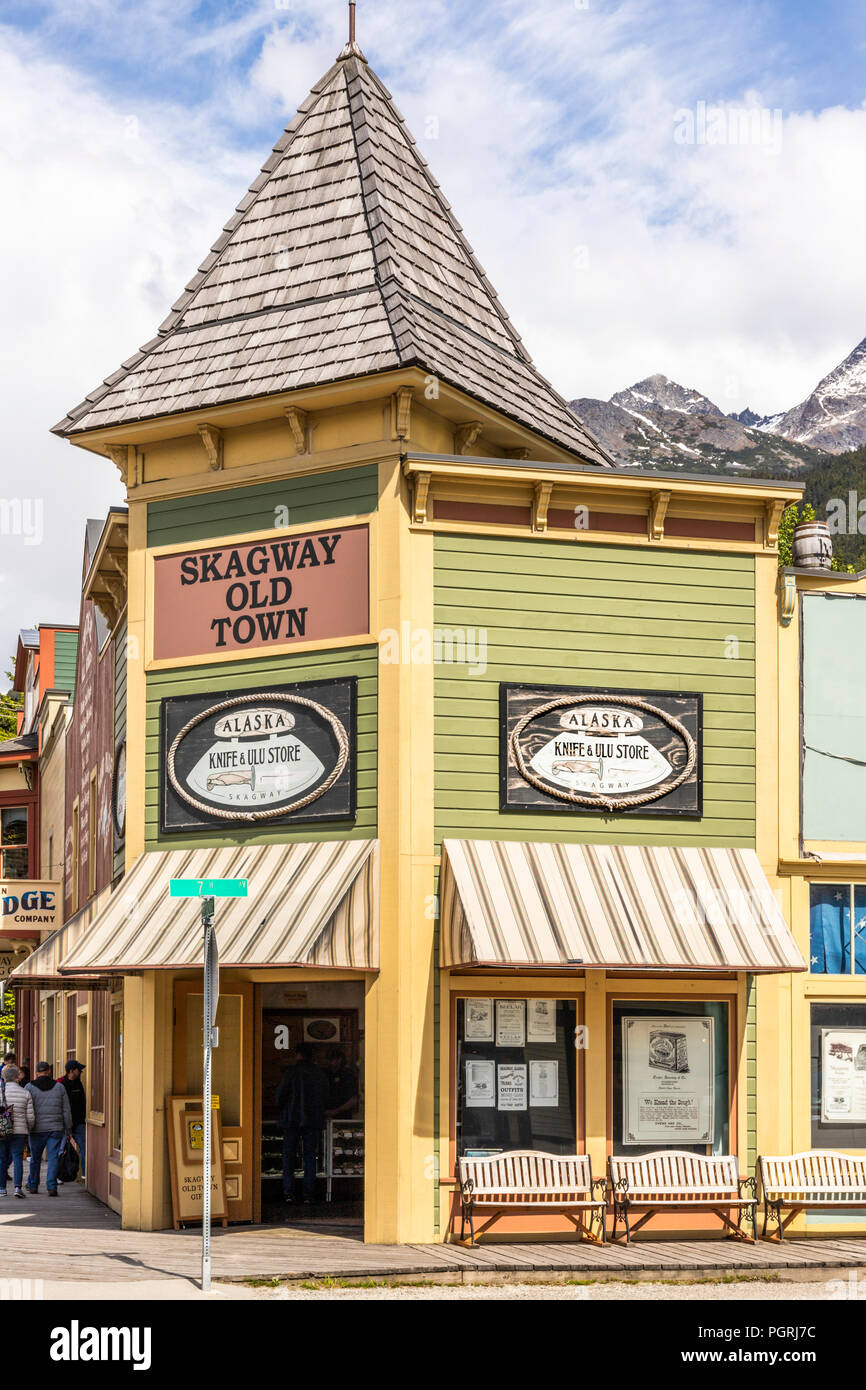 Alaska Knife & Ulu Store and Gift Shop in the main street of Skagway, Alaska USA - Stock Image