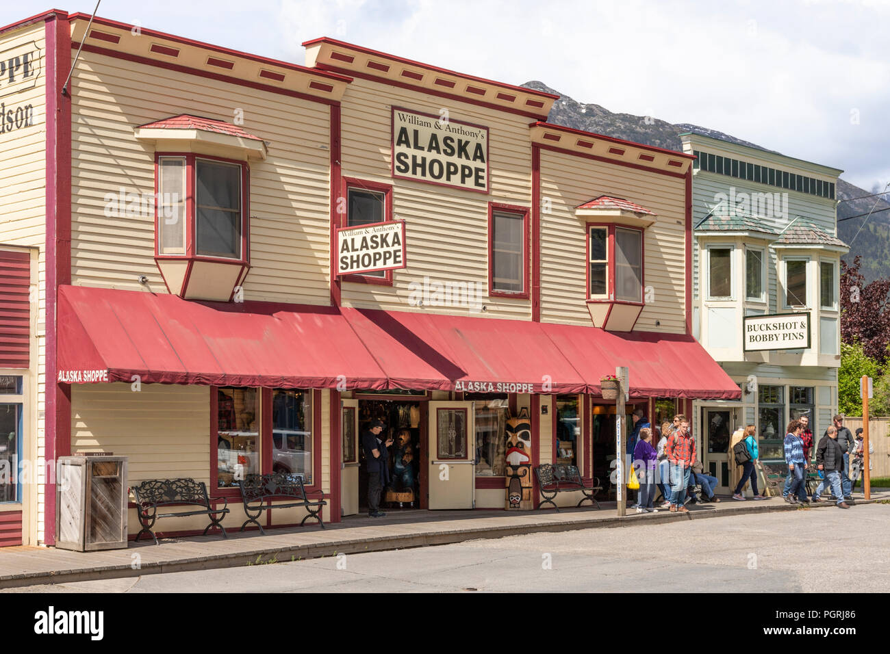 Colourful timber buildings in the main street of Skagway, Alaska USA - Stock Image