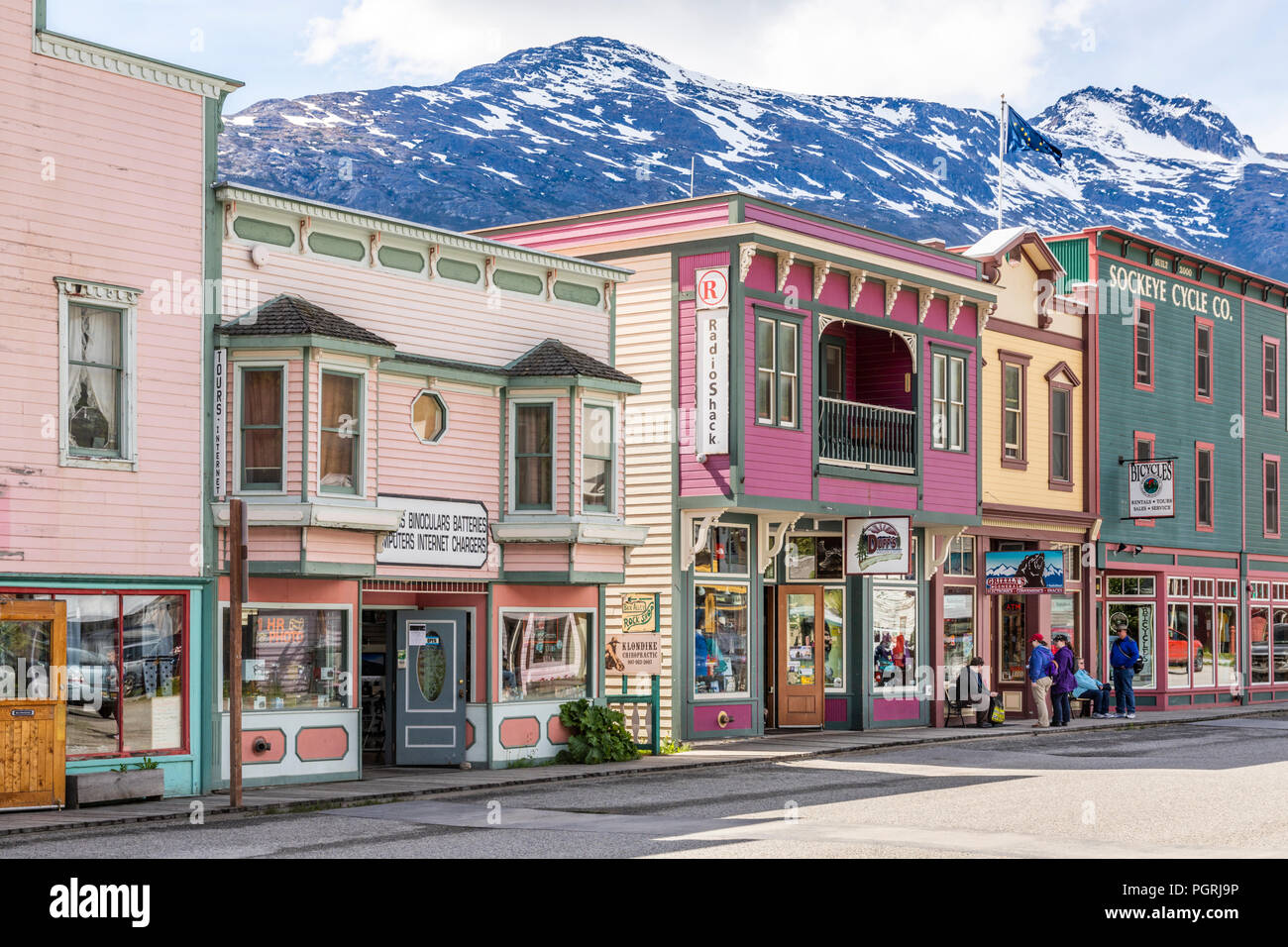 Colourful timber buildings in the main street in Skagway, Alaska USA - Stock Image