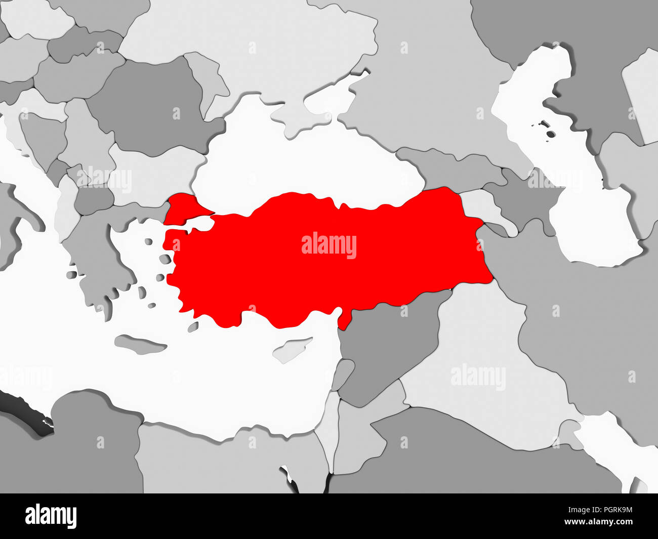 Turkey In Red On Grey Political Map With Transparent Oceans 3d