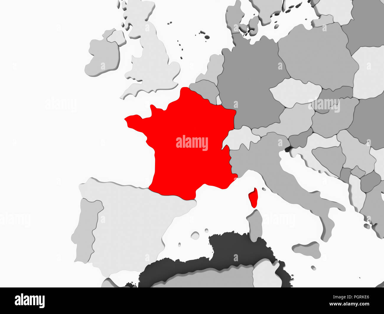 Map Of France Political.France In Red On Grey Political Map With Transparent Oceans 3d