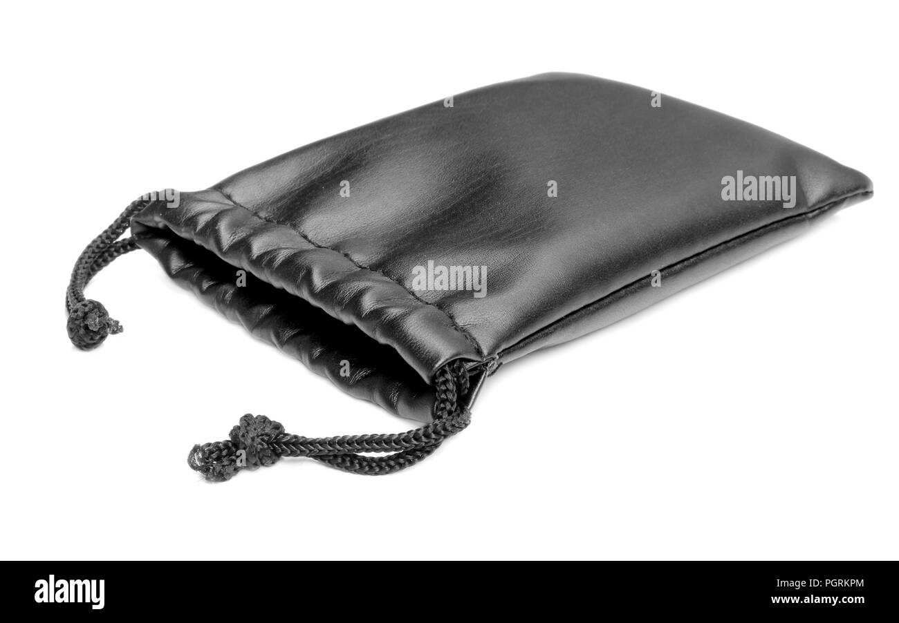 Black leather pouch bag on white - Stock Image