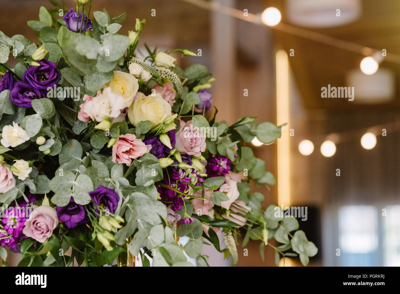Decoration of a stylish beautiful wedding with flowers. - Stock Image
