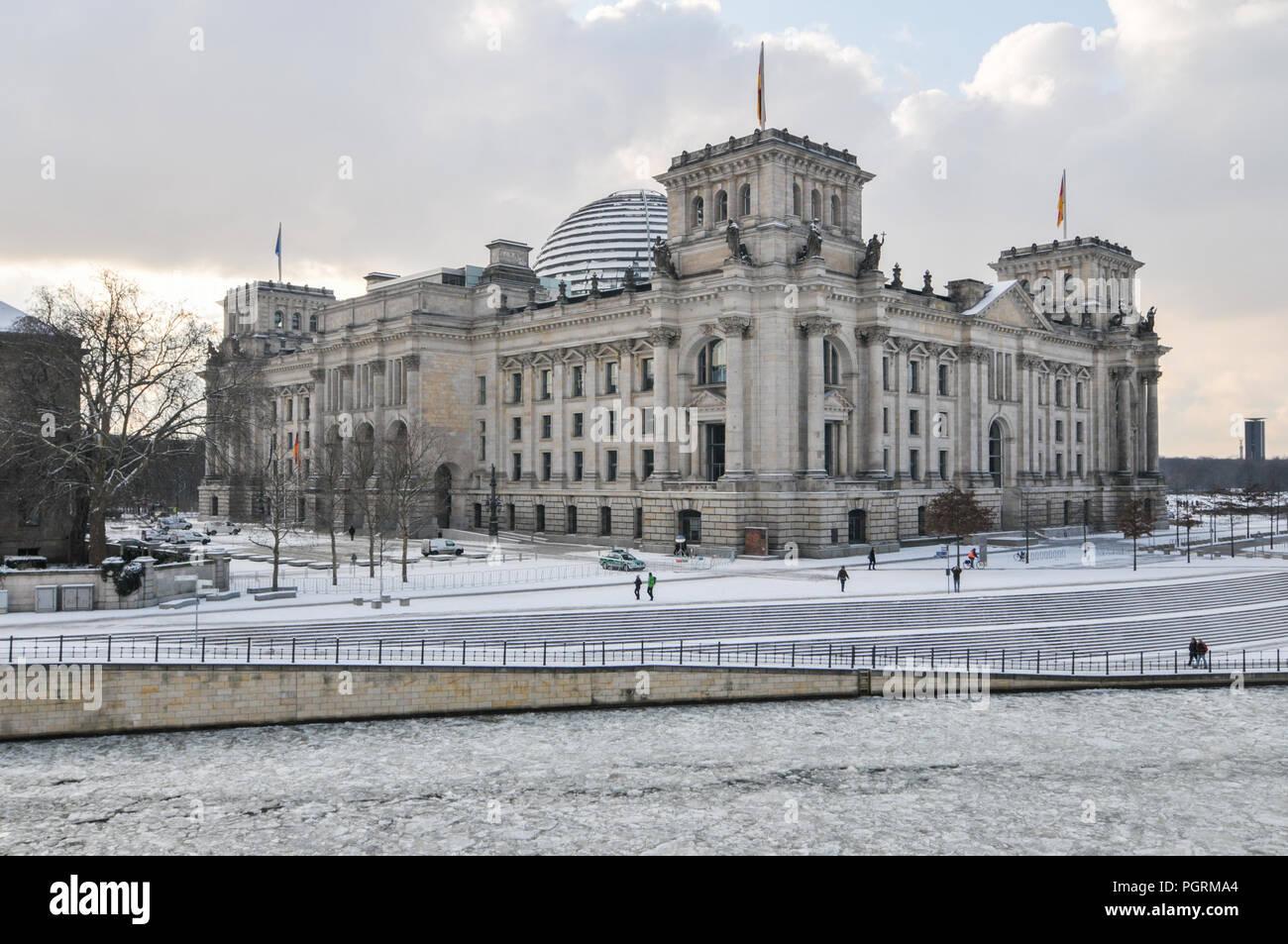 Reichstag in Berlin Germany in wintertime Stock Photo