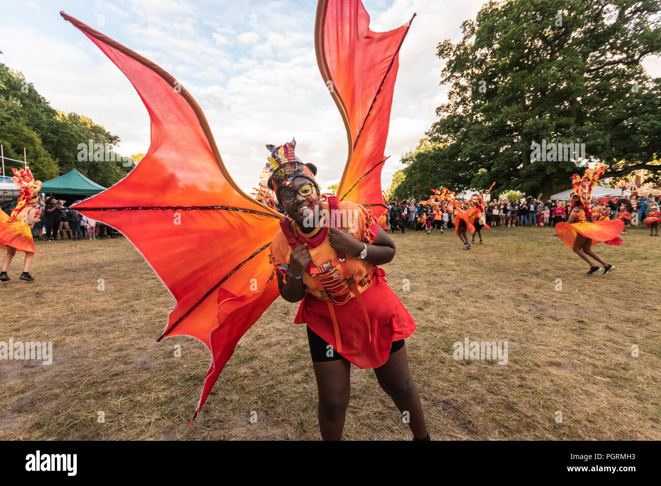 One of the dance troupe at Lunar festival smiling for the camera. Stock Photo