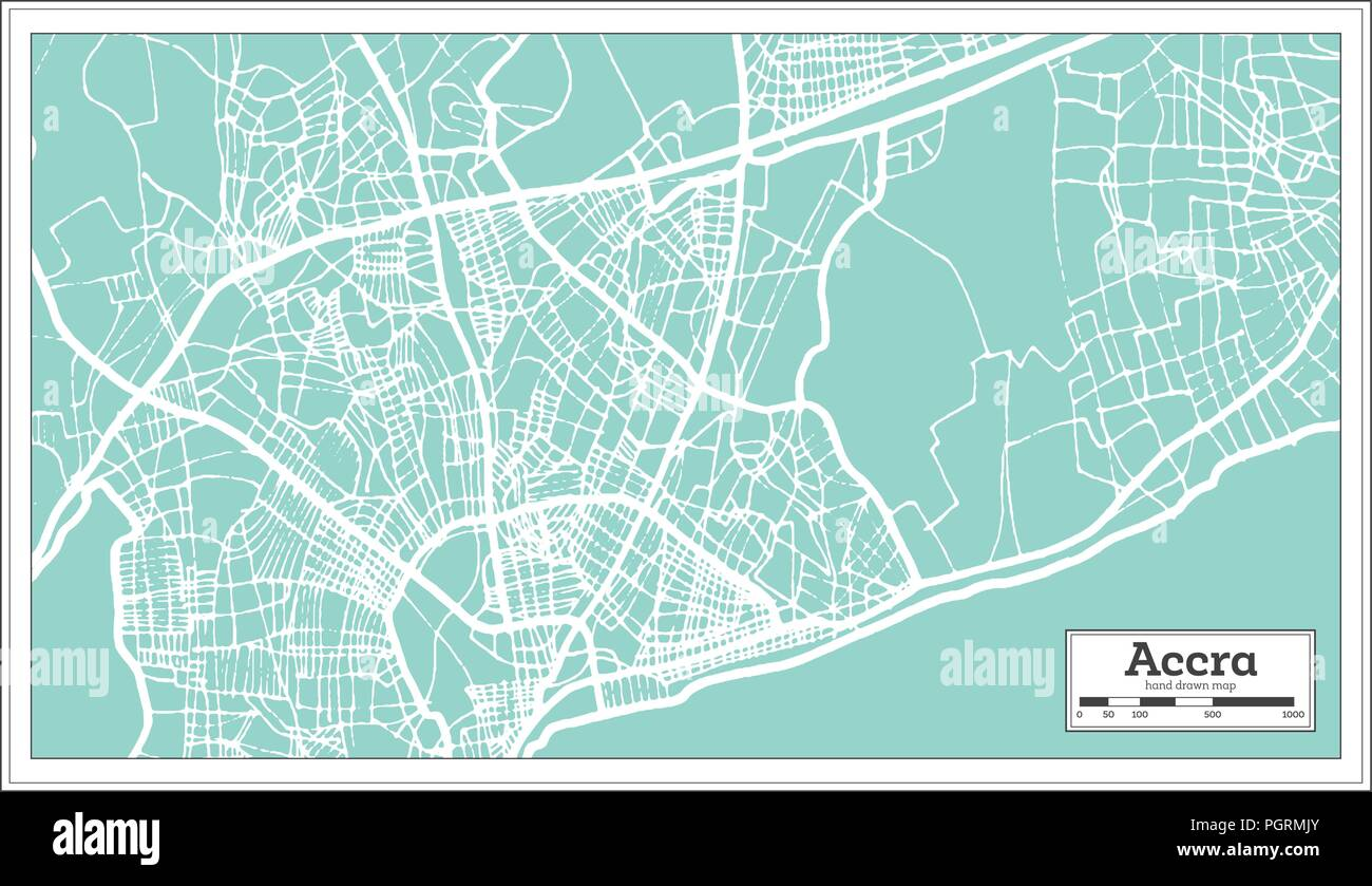 Accra Ghana City Map in Retro Style. Outline Map. Vector Illustration. - Stock Vector