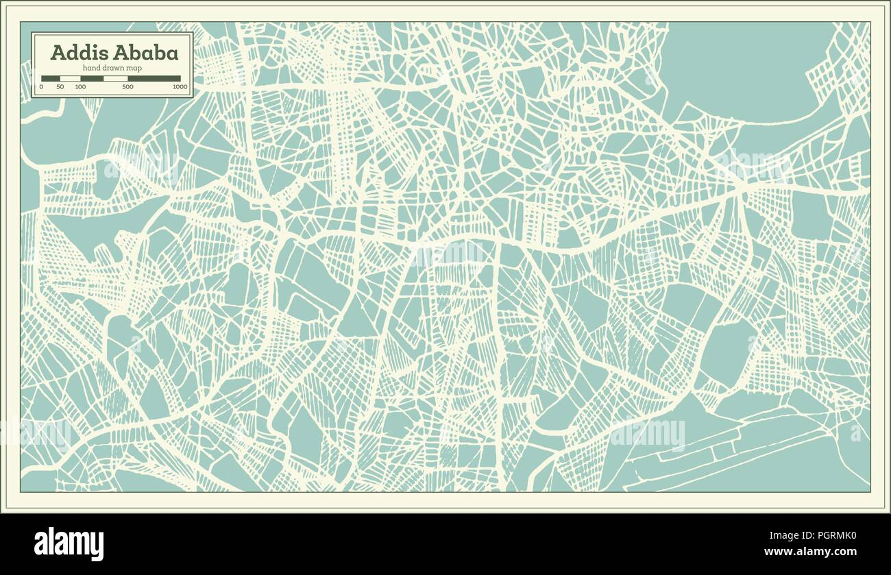 Addis Ababa Ethiopia City Map in Retro Style. Outline Map. Vector ...