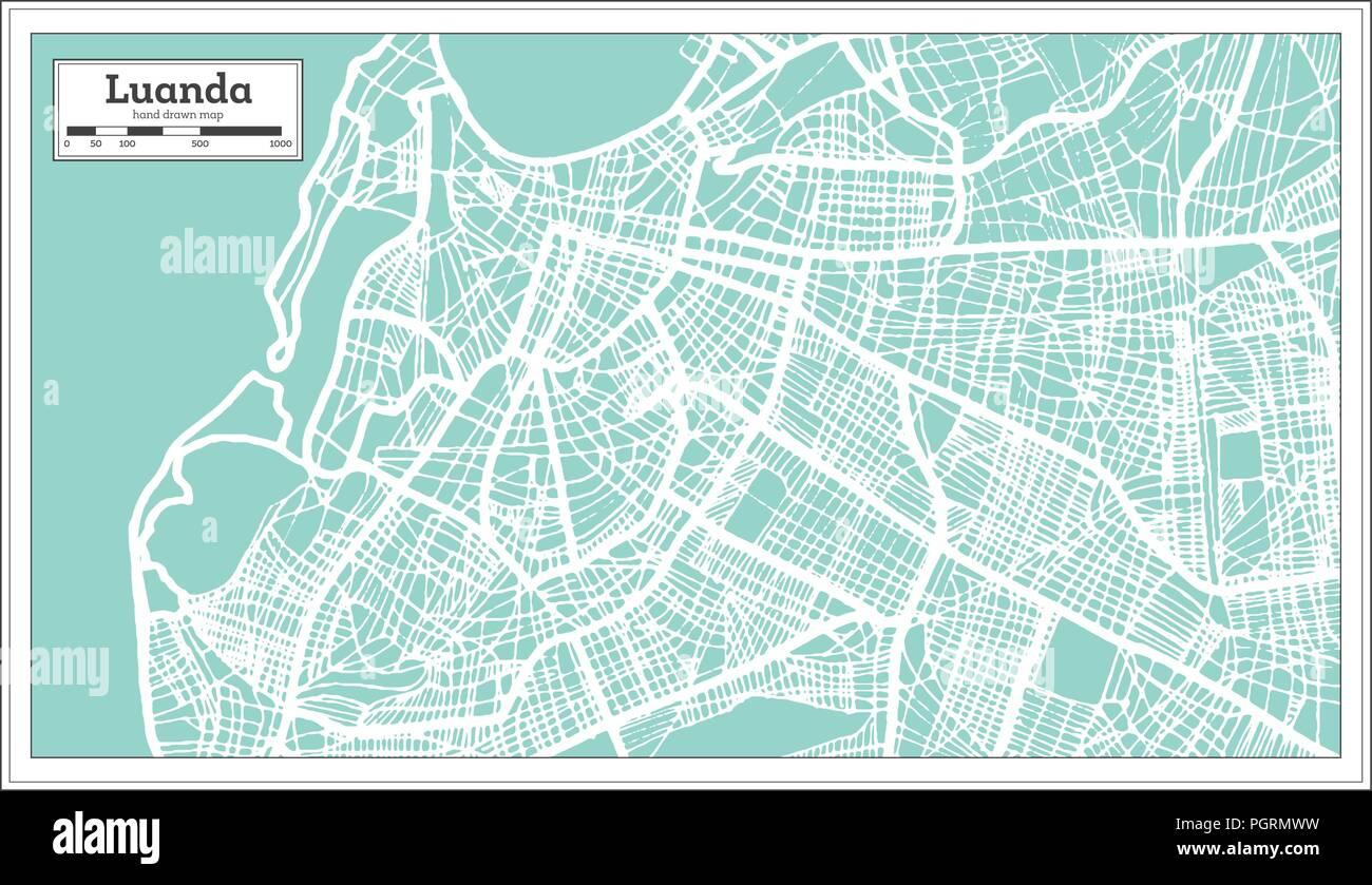 Luanda Angola City Map in Retro Style. Outline Map. Vector Illustration. - Stock Image