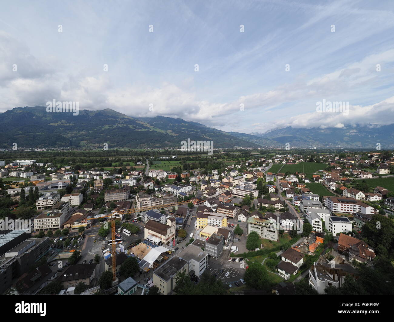 View On Cityscape Landscapes Of Small European Capital City Vaduz In Liechtenstein With Cloudy Blue Sky 2018 Warm Sunny Summer Day August
