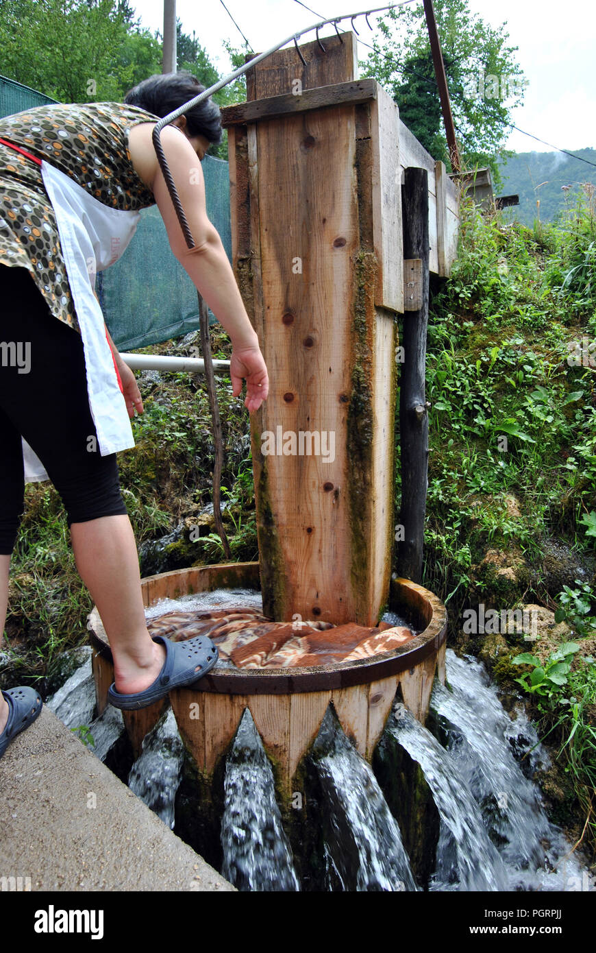 Martin Brod, Bosnia-Herzegovina. The 'Bucnica' typical eco laundry - Stock Image