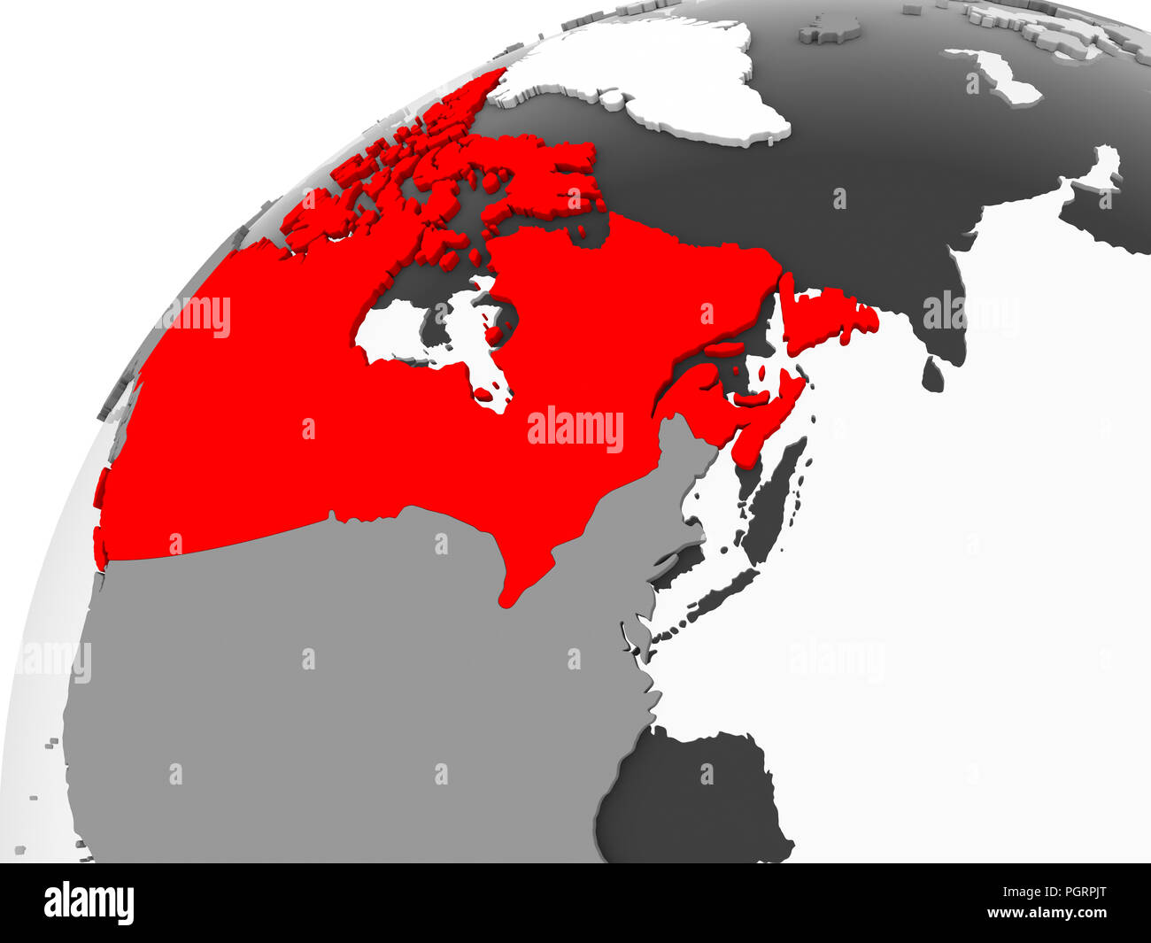Map Of Canada Red.Map Of Canada In Red On Grey Political Globe With Transparent Oceans