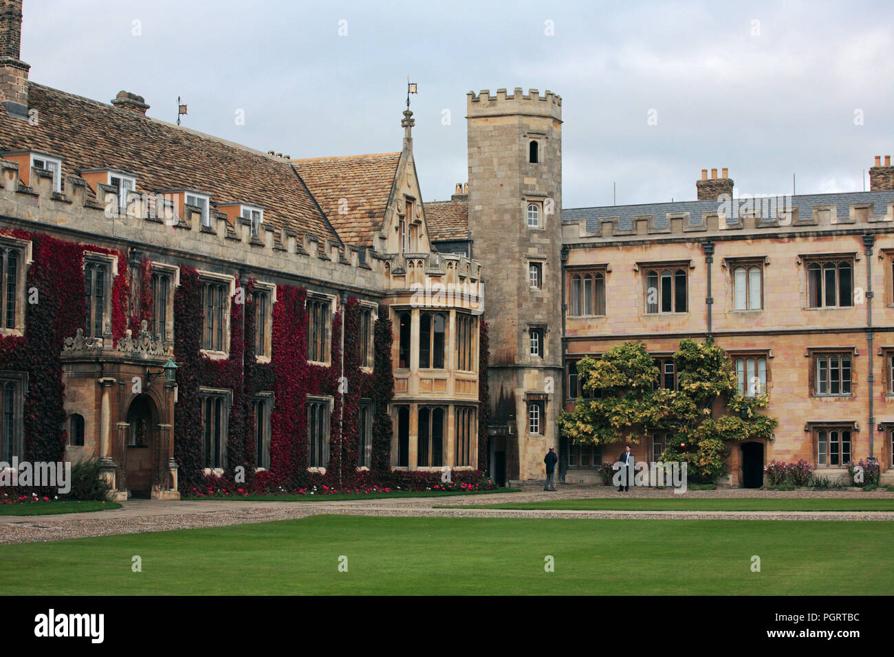 Corner of the Great Court by the Master's Lodge, Trinity College, Cambridge, England, UK - Stock Image