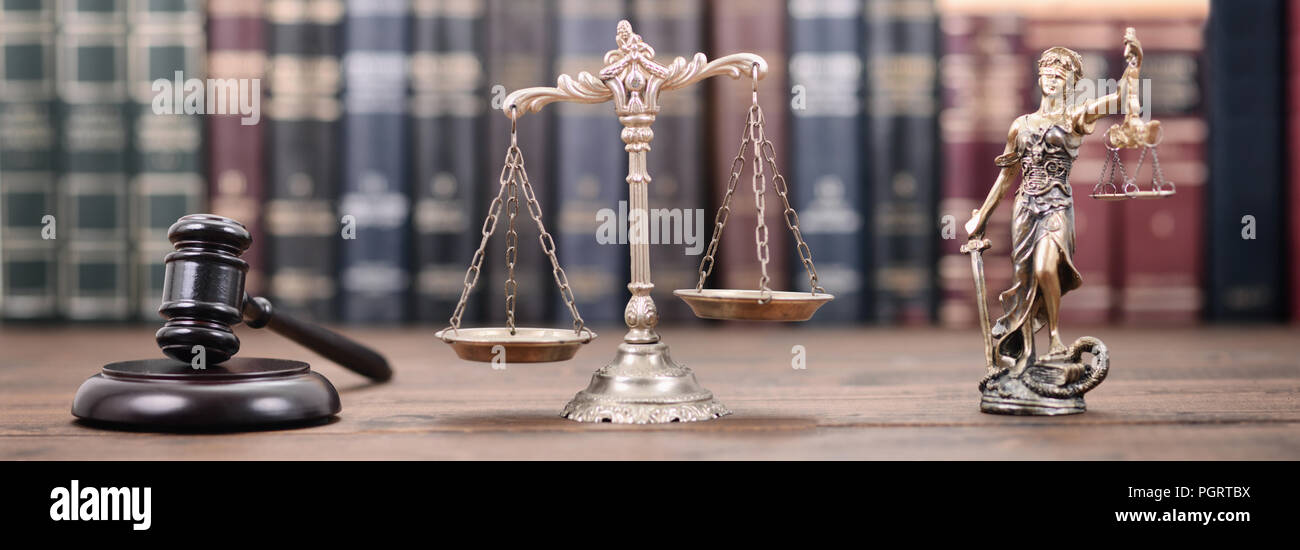 Law and Justice, Legality concept, Lady Justice, Scales of Justice and Judge Gavel on a wooden background, Law library concept. - Stock Image