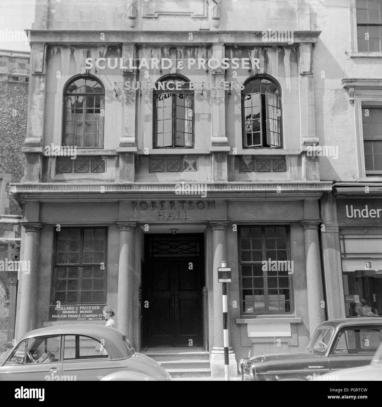 The Robertson Hall building, with then offices of Scullard and Proser, insurance brokers, in Brighton on the South Coast of England, during the early 1960s. - Stock Image